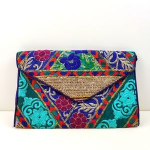 Indigoody Fabric Embroidered Clutch Bag